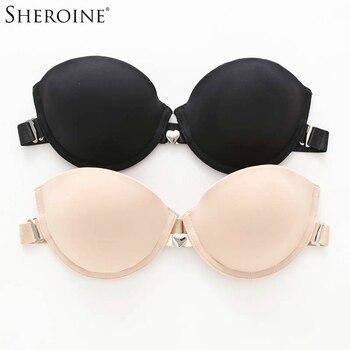 Sheroine Bras Metal Heart-Shaped Front Closure Underwire Backless Beauty Back Women Push Up Brassiere Bralette Plus Size brassiere