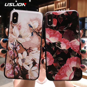 Image 2 - USLION 3D Emboss Flower Phone Case For iPhone 11 X XR Xs Max 8 Plus 11 Pro Max Camellia Rose Leaf Cover For iPhone 7 6 6S Plus