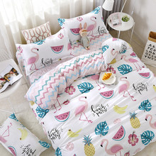 4pcs/set Fruits Watermelon Pineapple Banana Swan Pattern Bedding Set Bed Linings Duvet Cover Bed Sheet Pillowcases Cover Set 51(China)
