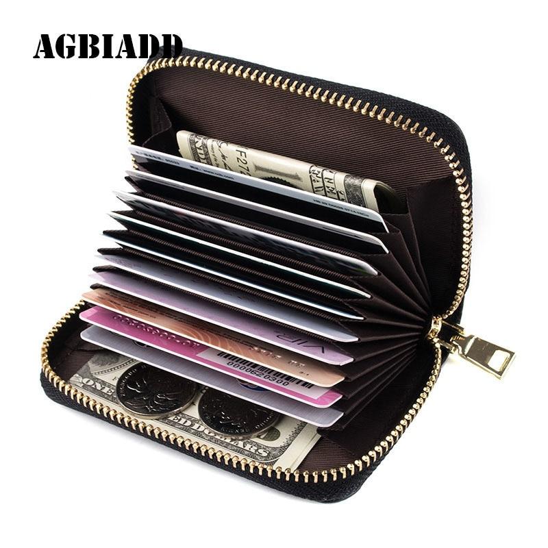 Mini caja de tarjeta de crédito de cuero genuino organizador compacto titular de la tarjeta monedero 584-30 extensible mujeres cremallera titular de la tarjeta de crédito