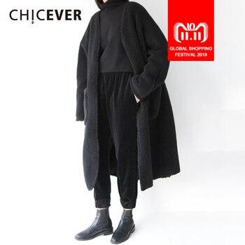 CHICEVER зима овечьей шерсти Viintage Тренч для женщин ветровка толстый бархат теплые свободные большой размеры пальто будущих мам женс