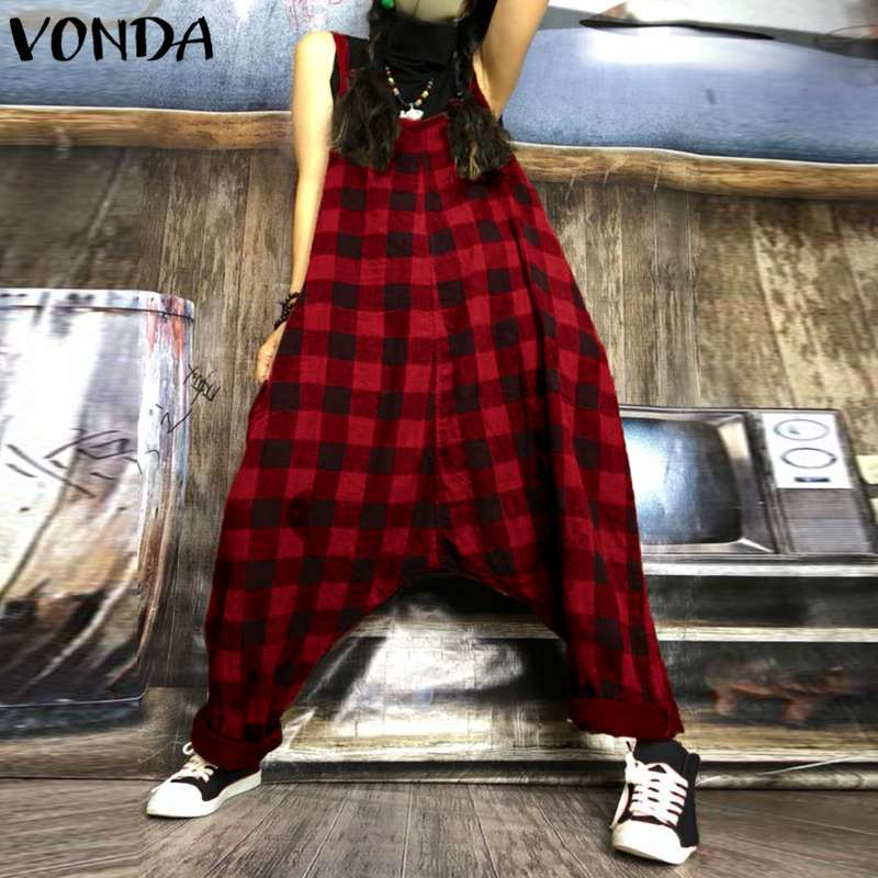 Rompers Womens Jumpsuit 2020 Summer Vintage Harem Pants Plaid Printed Playsuits Casual Loose Sexy Sleeveless Overalls Plus Size