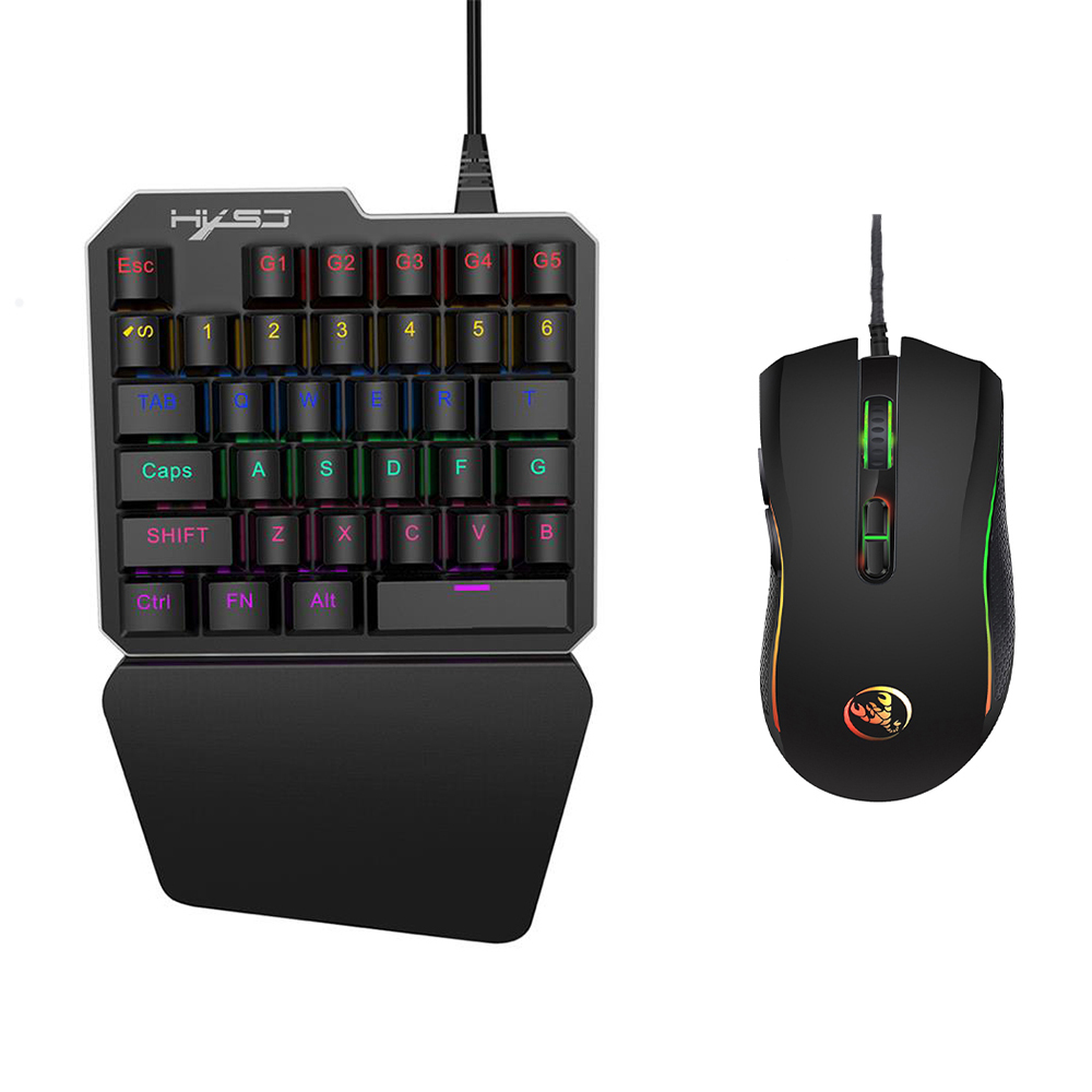 HXSJ J100+A869 Keyboard Mouse Set 35 Keys Mini USB Wired 3200DPI 7 Buttons LED Optical Gaming Keyboard Mouse Combos for Gamers