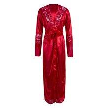 Популярные однотонные кружевные женские ночные рубашки с длинным рукавом и поясом, платья для спальни, шелковые халаты, неглиже, кардиган с вырезами