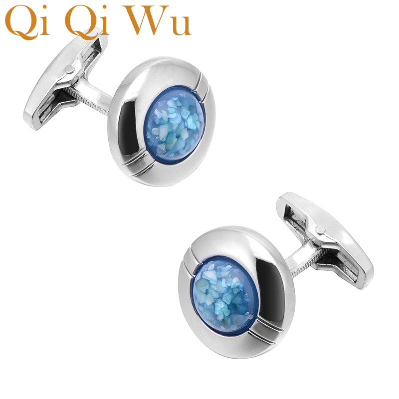 QiQiWu Blue Crystal Cufflinks for Mens Wedding Jewelry Round French Shirt Cuff Buttons Men Silver Arm Cuff links Christmas Gifts in Tie Clips Cufflinks from Jewelry Accessories