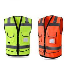Открытый Ночной езда бег Hi-Vis жилет безопасности Светоотражающая куртка безопасности жилет Спорт на открытом воздухе ночью безопаснее свободный размер