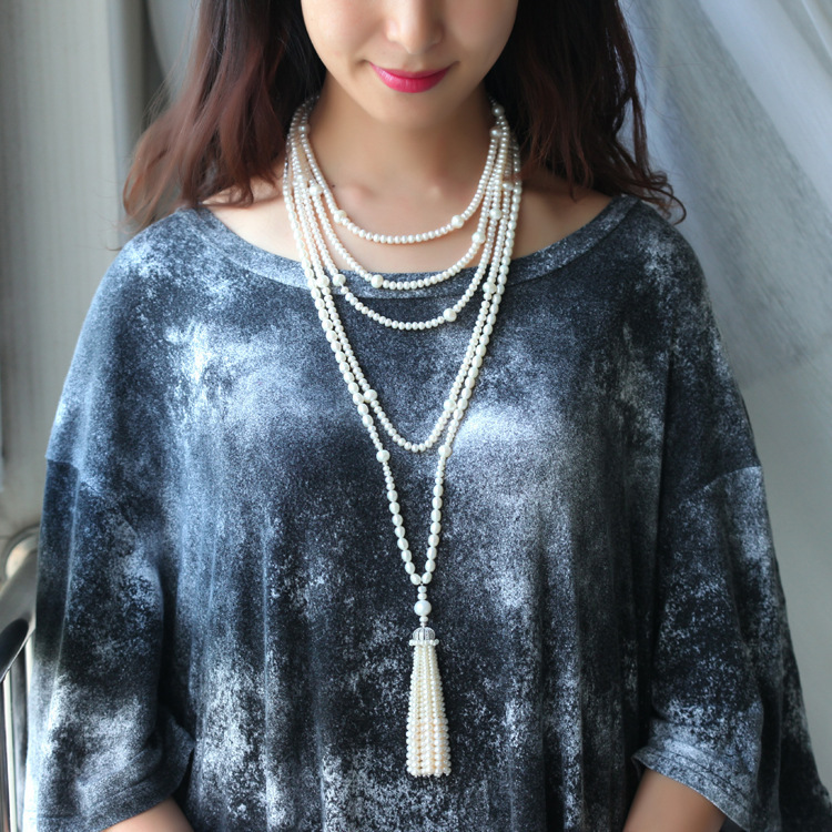 Autumn And Winter Natural Pearl Long Fund Tassels Sweater Chain Length Necklace Pearl Ornaments dermspe 2017 new autumn winter long jumper sweater chain korean neck necklace necklace sweater accessories pendant