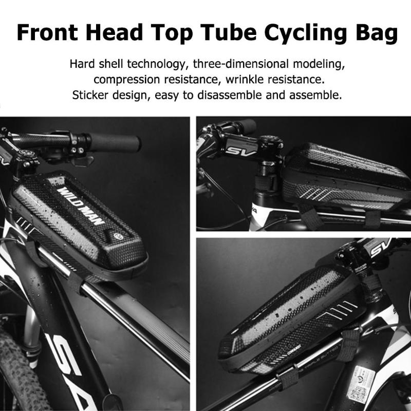 Black PU EVA Waterproof Bicycle Top Tube Bicycle Bag Cycling Front Beam Storage Bag Case Pouch Bike Accessories 2019 New in Bicycle Bags Panniers from Sports Entertainment