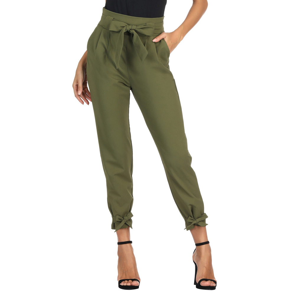 GK fashion   pants   Women Casual High Waist Belt Decorated Pencil   Capri     Pants   With Bow-Knot pockets solid color office lady   pants