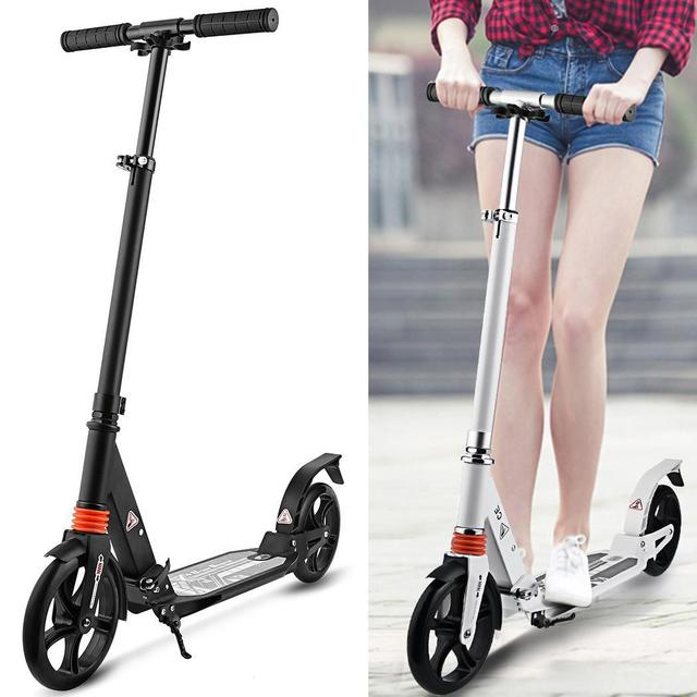 Children Adult Kick Scooter Wheels Adjustable Aluminum Alloy T-Style Design Sturdy Lightweight Foldable Foot Scooter Clearance