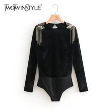 TWOTWINSTYLE Velvet Bodysuits Female O Neck Long Sleeve Beading Chain Tassel Women's