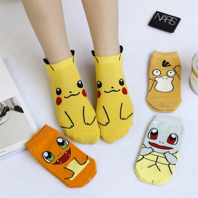 Women Kawaii Harajuku Pokemon Pikachu Socks 3D Printed Cartoon Women's Low Cut Ankle Socks Novelty Casual Socks Drop Shipping