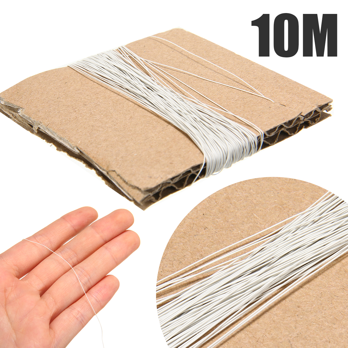 1pcs UL10064 36AWG 10m White 0.28mm Solder Micro Litz Stranded Wire Cable For Household Appliances