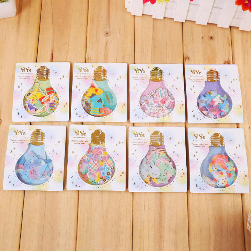 30pcs Bulb Style Stationery Stickers Watercolor Birds Cat Star Decorative Adhesive Stickers For Scrapbooking Decor Girls Gift