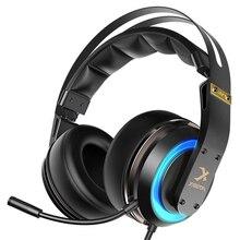 Xiberia T19 Pc Gamer usb-гарнитура 3D объемный звук Игровые наушники с активным шумоподавлением Микрофон Led для компьютера