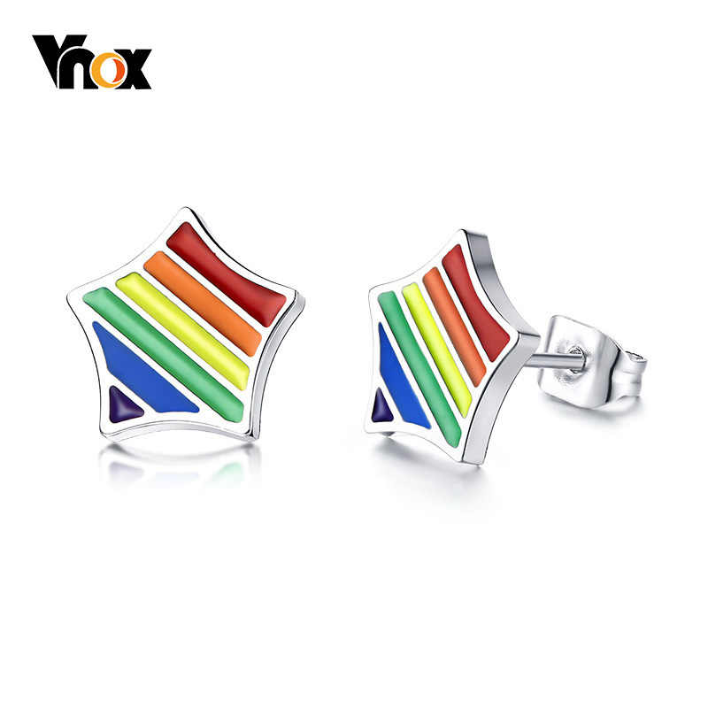 Vnox Rainbow Star Stud Earrings For Men Stainless Steel Pin Screw Back Earings Casual Jewelry