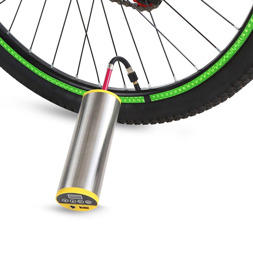 150PSI Cycling Electric Pump MTB Road Bike Motorcycle Air Pump Built in Gauge Emergency Power Bank