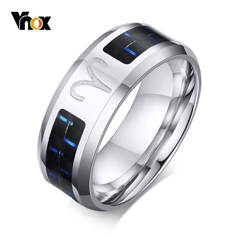 Vnox Aries-Ring Wedding-Band Carbon-Fiber Alliance Stainless-Steel 12-Horoscope Male