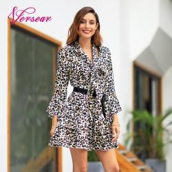 Versear Women Leopard Print Dress Sexy V Neck Bow Tie Long Flare Sleeve Spliced Ruffle Party Mini Dress Autumn OL Fashion Dress 1