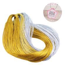 100 м веревка золотой серебряный шнур подарочная упаковка Металлическая Ювелирная нить шнур DIY тег линия браслет Изготовление этикеток Марка ремешок