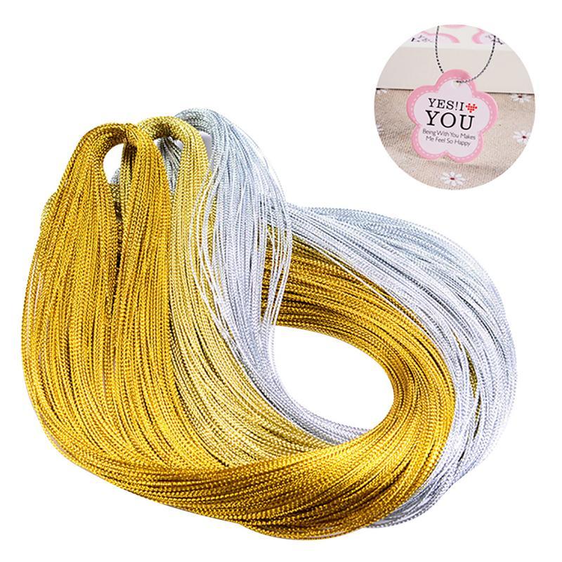 100 м веревка, золотой серебряный шнур, подарочная упаковка, металлическая нить для ювелирных изделий, шнур, сделай сам, бирка, линия, браслет, ...