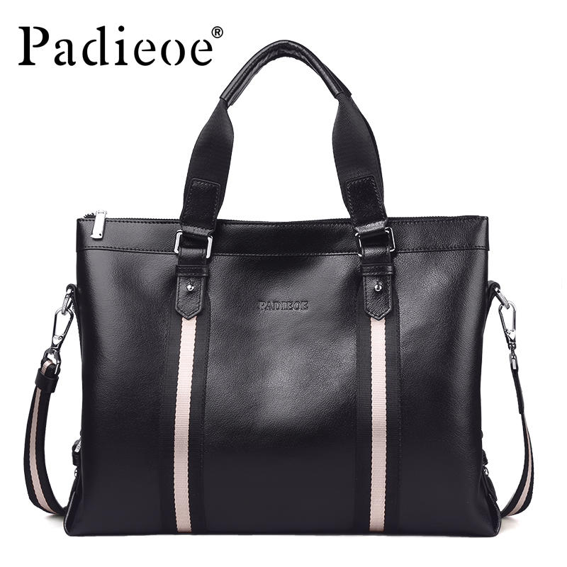 цена на Padieoe 2018 Men Briefcase Famous Brand Tote Bag Leather Messenger Bag Men Business Handbags Fashion Shoulder Bags Free Shipping