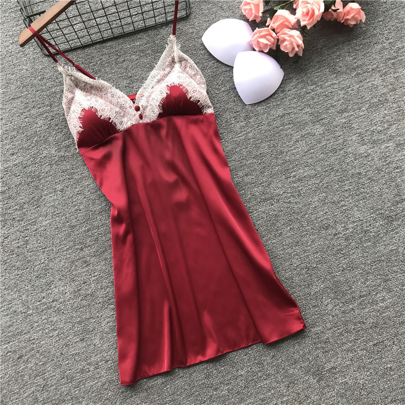 2019 Summer Women Silk Nightgowns With Chest Pads Female Satin Elegant Sexy Lace Spaghetti Strap Backless Nightdress Sleepwear in Nightgowns Sleepshirts from Underwear Sleepwears