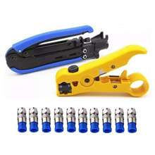 Compression Tool Coax Cable Crimper Kit Adjustable Rg6 Rg59 Rg11 75-5 75-7 Coaxial Stripper With 10 Pcs F Co