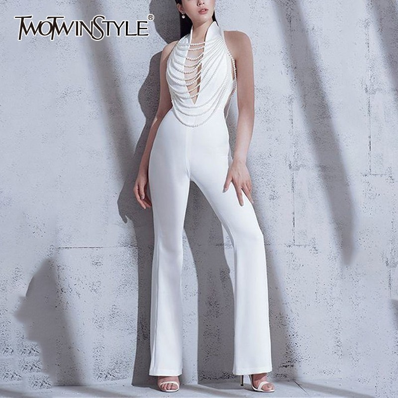 TWOTWINSTYLE Off Shoulder Backless Sexy   Jumpsuit   Women V Neck High Waist Beading Slim Pants Female Spring 2019 Fashion Tide