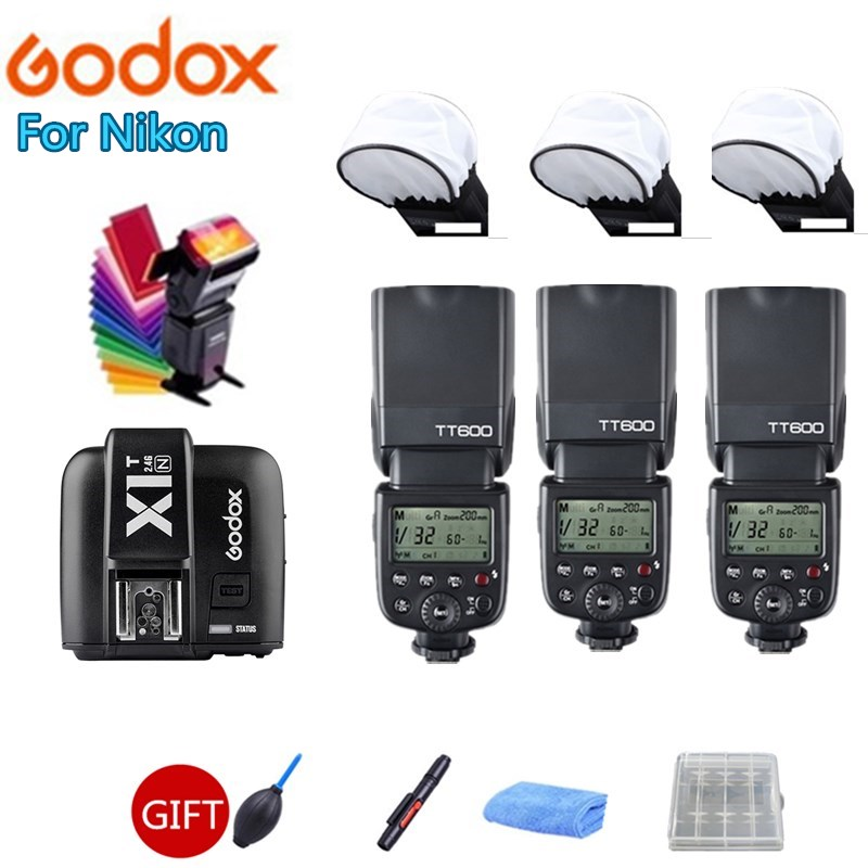 3X Godox Thinklite TT600 Flash Camera Flash Speedlite Diffuser + X1T-N Transmitter Trigger for Nikon DSLR Cameras3X Godox Thinklite TT600 Flash Camera Flash Speedlite Diffuser + X1T-N Transmitter Trigger for Nikon DSLR Cameras