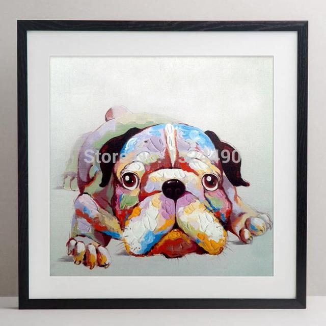 100% Handpainting A Cute Little Dog Animals Oil Painting Modern Brief Entrance Mural Wall Art Home Decoration Living Room Decor