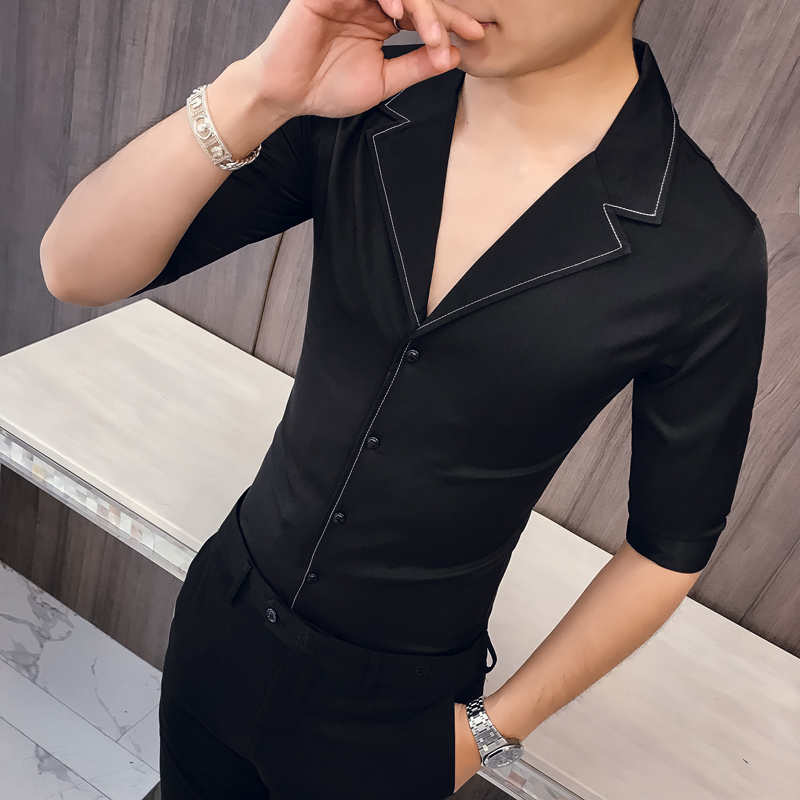 Solid Color Seven-quarter Sleeve Shirt Man Kemeja Pria Camisa Masculina Suit Collar Casual Style Half Sleeve Mens Camisa Hombre
