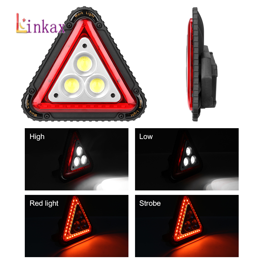 Portable Triangle Warning Led Floodlight 4 Modes COB LED Car Repairing Work Lamp Multi-function Handle Camping Light Searchlight