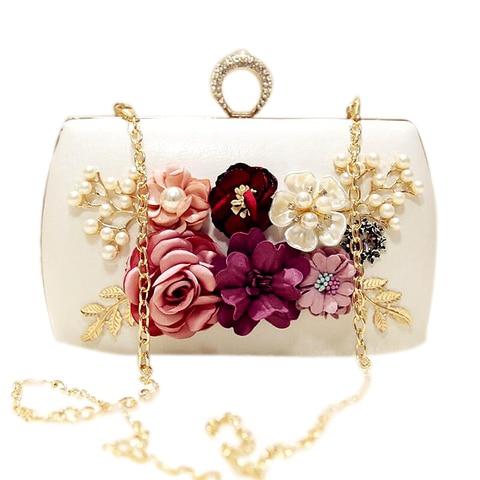 Bolsas de Noite Bolsa com Corrente Alta Qualidade Luxo Artesanal Flores Marca Jantar Embreagem Flor Banquete Bolsas Ljl