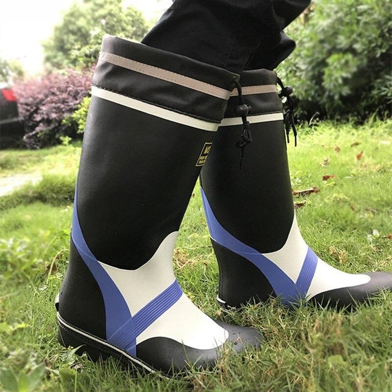 Pêche imperméable chaussures antidérapantes eau mer aqua bottes porter fond de boeuf caoutchouc pluie mâle haute pataugeoire jardin mine zapatos hombre