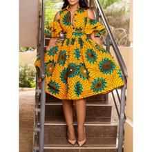 b883353b352 Clocolor femmes robes Midi Sexy taille haute tunique imprimé Floral  tournesol fête élégant Boho vacances d été dames robe jaune