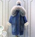 Джинсовая куртка для девочек; сезон осень-зима; хлопковый плащ; плотное пальто