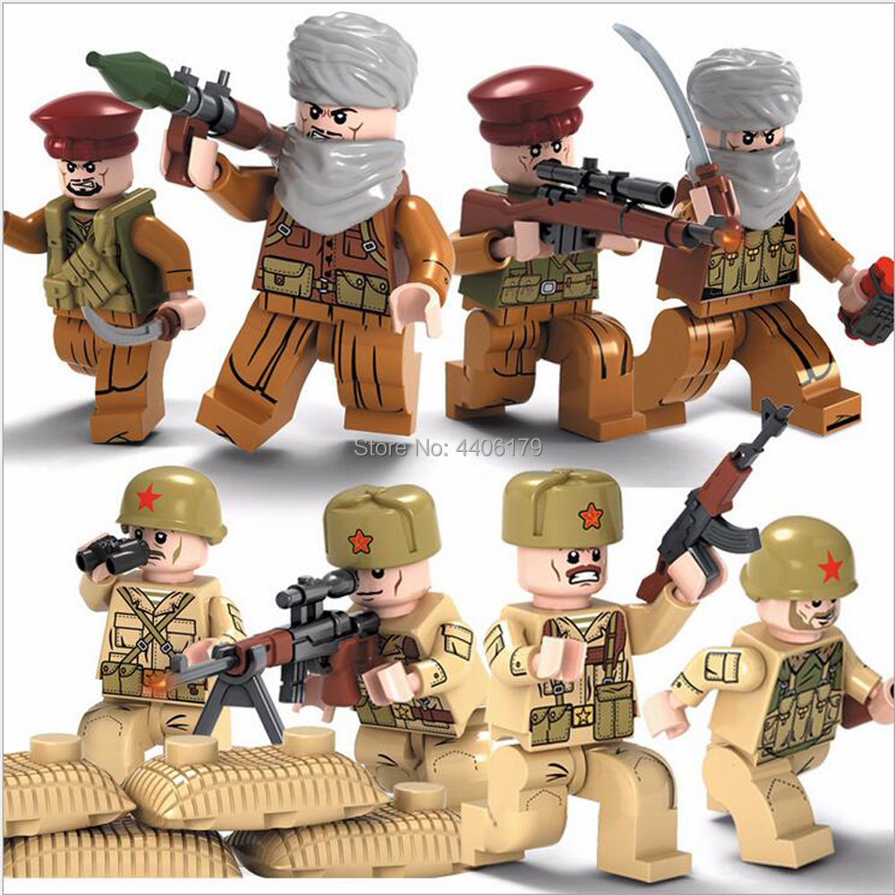 hot LegoINGlys military WW2 Soviet Red Army Afghan war MOC Building Blocks model soldier figures weapons missile brick toys gift