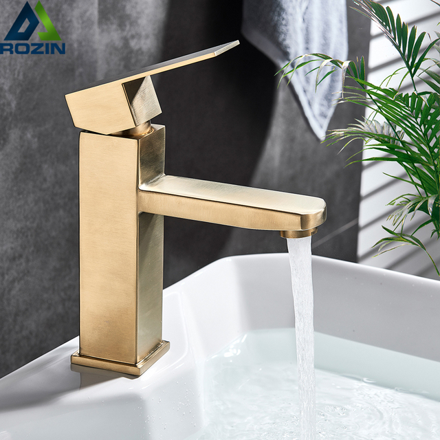 Brushed Gold Basin Sink Faucet Single Lever Square Hot Cold Water Tap Deck Mounted Bathroom Vessel Sink Mixers One Hole