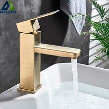 Fırçalanmış Altın Havzası lavabo musluğu Tek Kolu Kare Sıcak Soğuk Su Dokunun Güverte Üstü Banyo Gemi Lavabo Mikserler Tek Delik