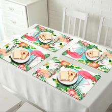 4PCS Flamingo Table Mat Non-Slip Chic Tropical Plants Tableware Pad Dining Table Mat Heat Insulation Placemats Bowl Coaster flamingo print table mat