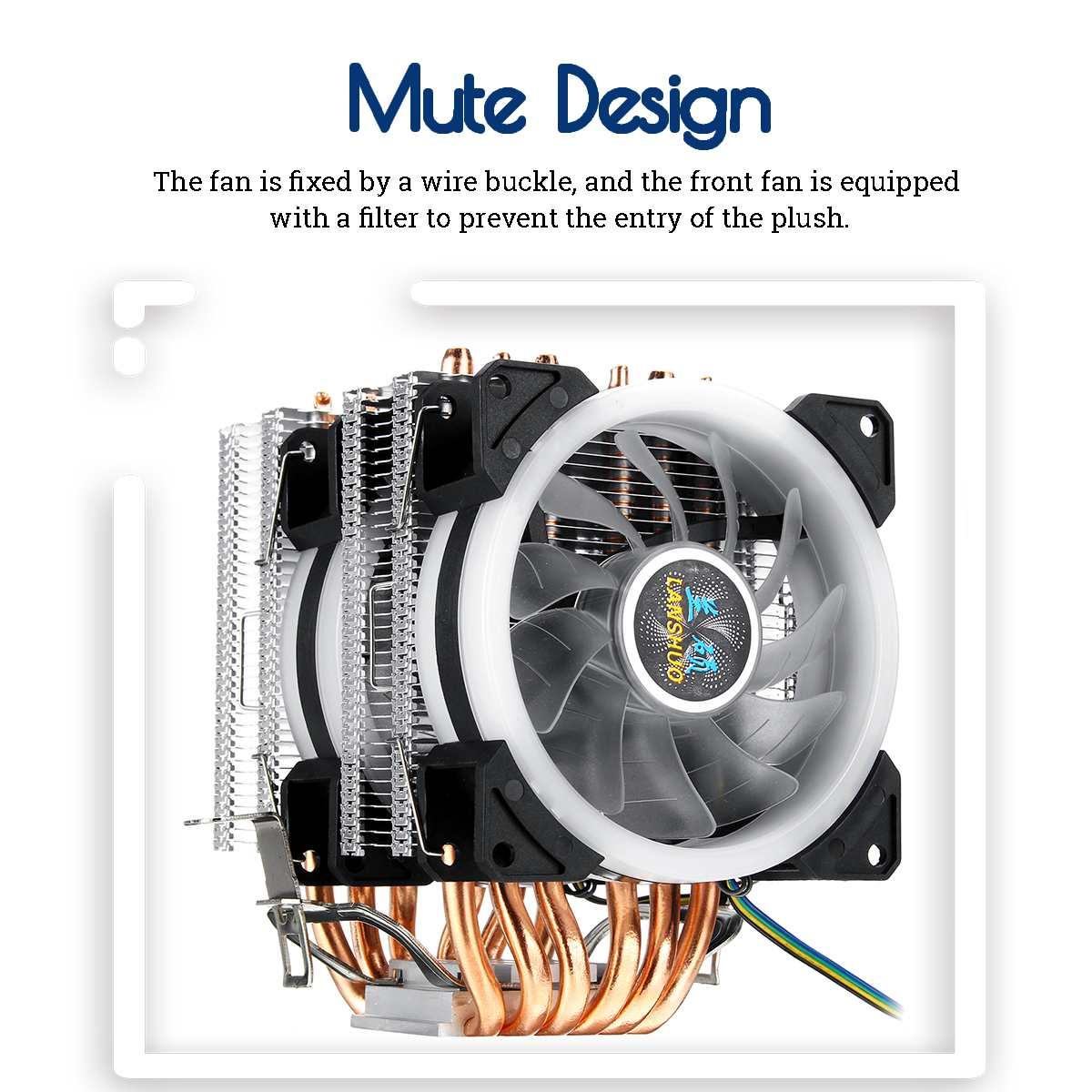 6 Heatpipe CPU Cooler Fan 4Pin RGB LED Cooling Fan Quiet Heatsink Radiator  for Intel 775/1150/1151/1155/1156/1366 All for AMD