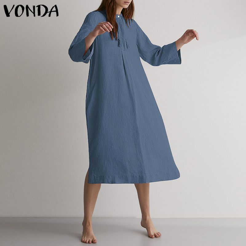 VONDA Women Dress 2019 Sexy Casual Loose Solid Long Party Dresses Female Vintage O Neck Autumn Robe Plus Size Solid Vestidos