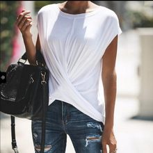 Leisure Solid ColorCrossing Casual O Neck T Shirt Tshirt Woman 2019 Summer Wear(China)