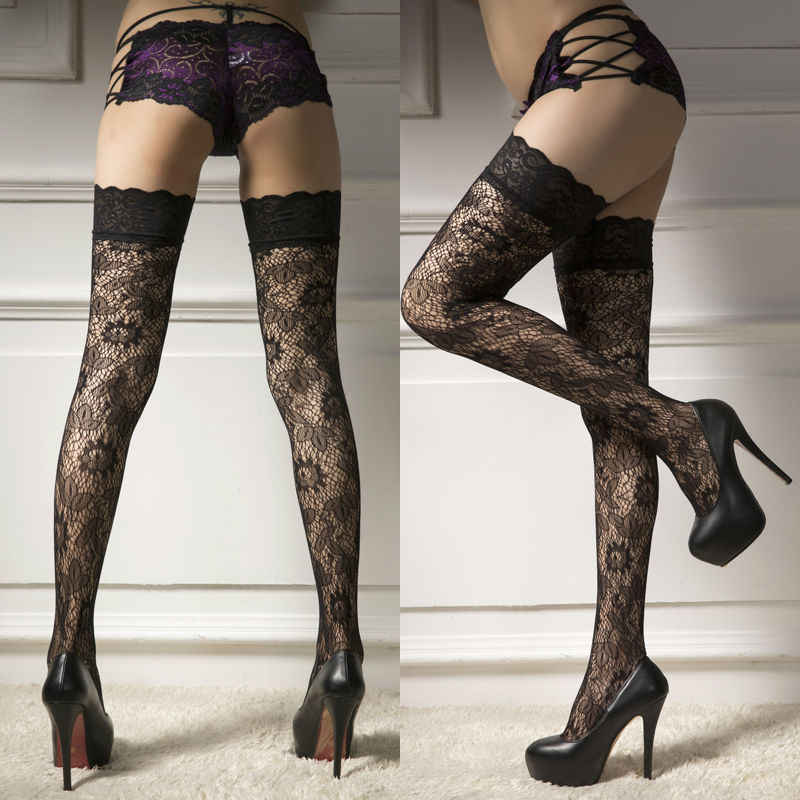 Sexy Casual Women Ladies Ultrathin Sheer Lace Top Stay Up Over Knee Thigh High Silk Stockings Pantyhose Hot Black