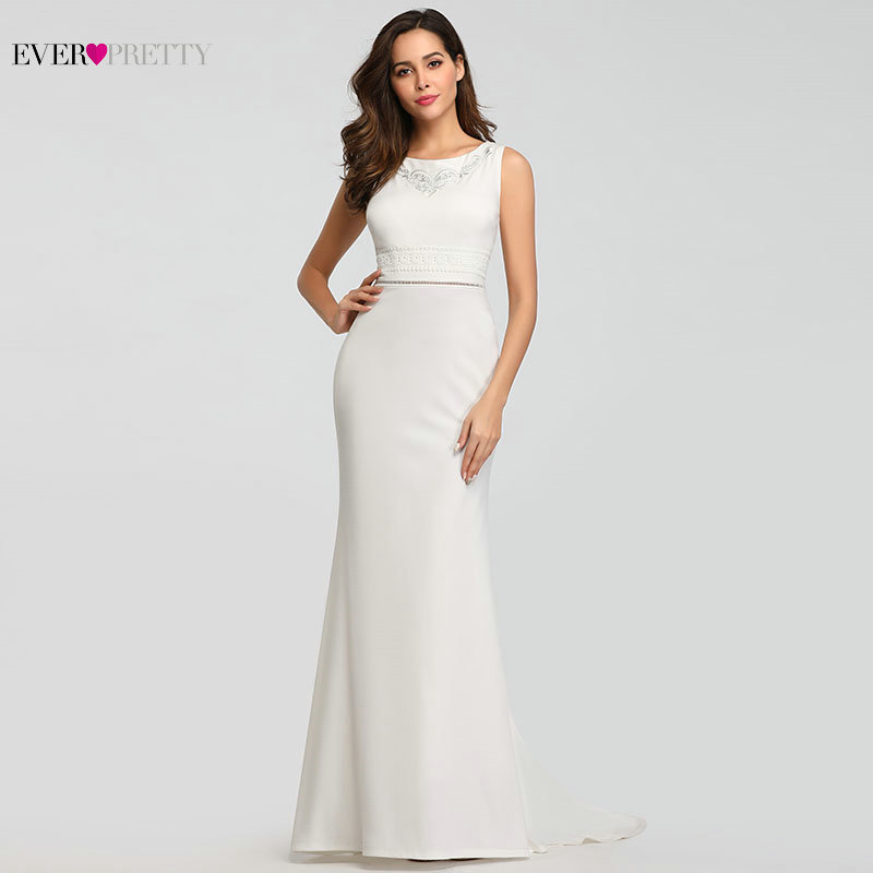New Arrival   Bridesmaid     Dresses   Ever Pretty Simple Mermaid Sleeveless O-Neck Vestidos De Novia 2019 Elegant Gowns for Wedding