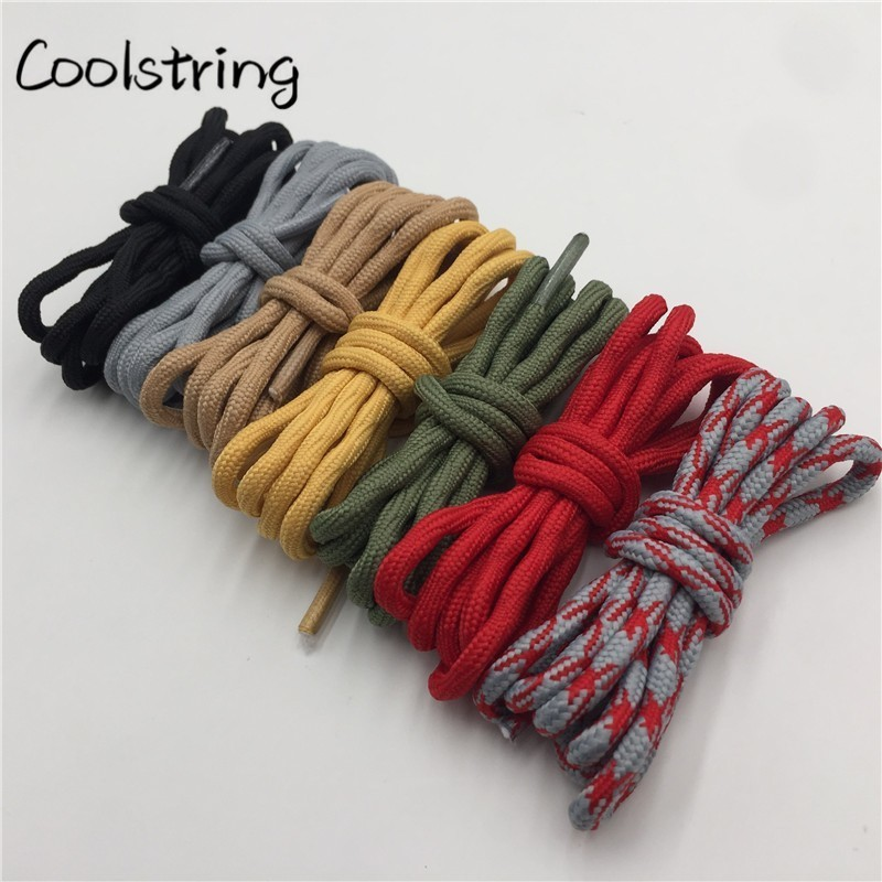 Coolstring Cool 4.5mm Wear Resistant Mountaineering Shoelaces Olivary Wave Round Sneakers Travel Shoes Laces For Martin Boots