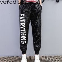 Vefadisa Full Sequin Pants Women White Letter Long Pants Black Elastic Waist Pants Streetwear Trousers for Girls ZLD625(China)