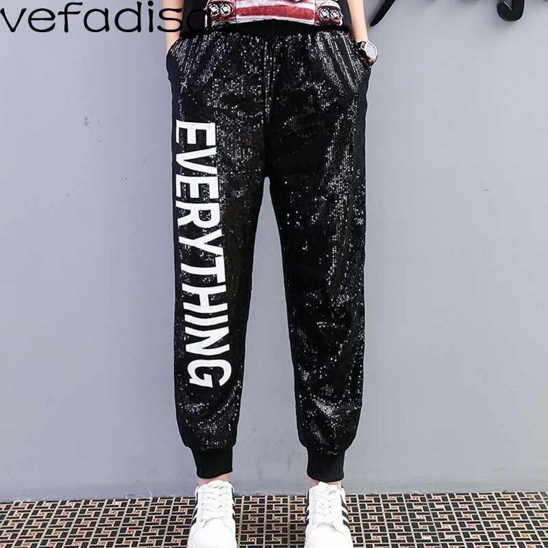 Vefadisa Full Sequin Pants Women White Letter Long Pants Black Elastic Waist Pants Streetwear Trousers for Girls ZLD625