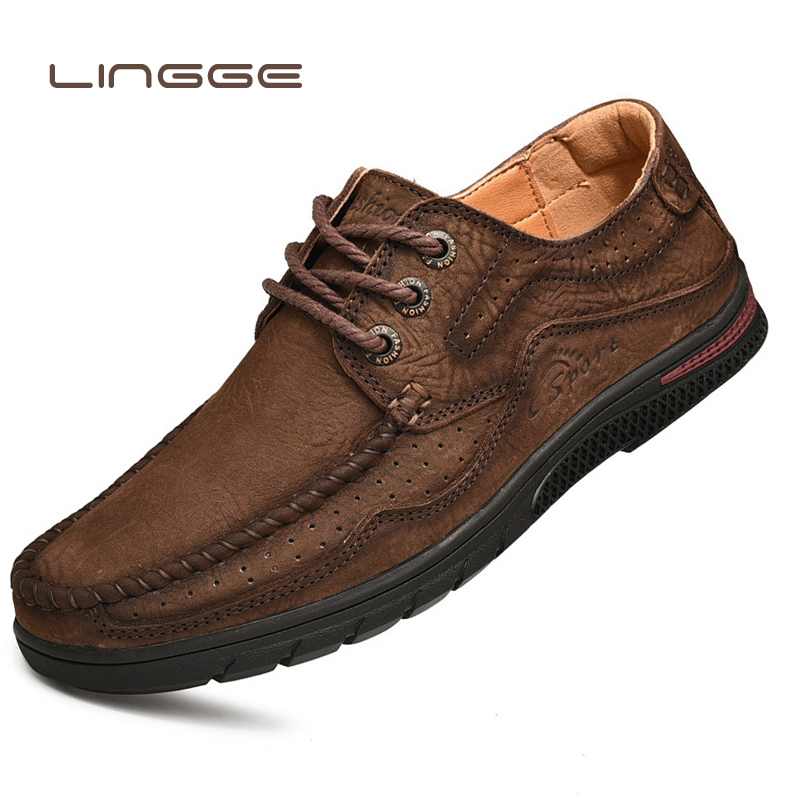 LINGGE 2019 New Leather Head Layer Men Waterproof Trekking Soft Bottom Hollow Breathable Anti skid Flexible